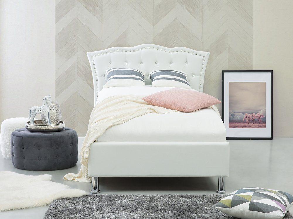 Łóżko z pojemnikiem ekoskóra 90 x 200 cm białe METZ nel