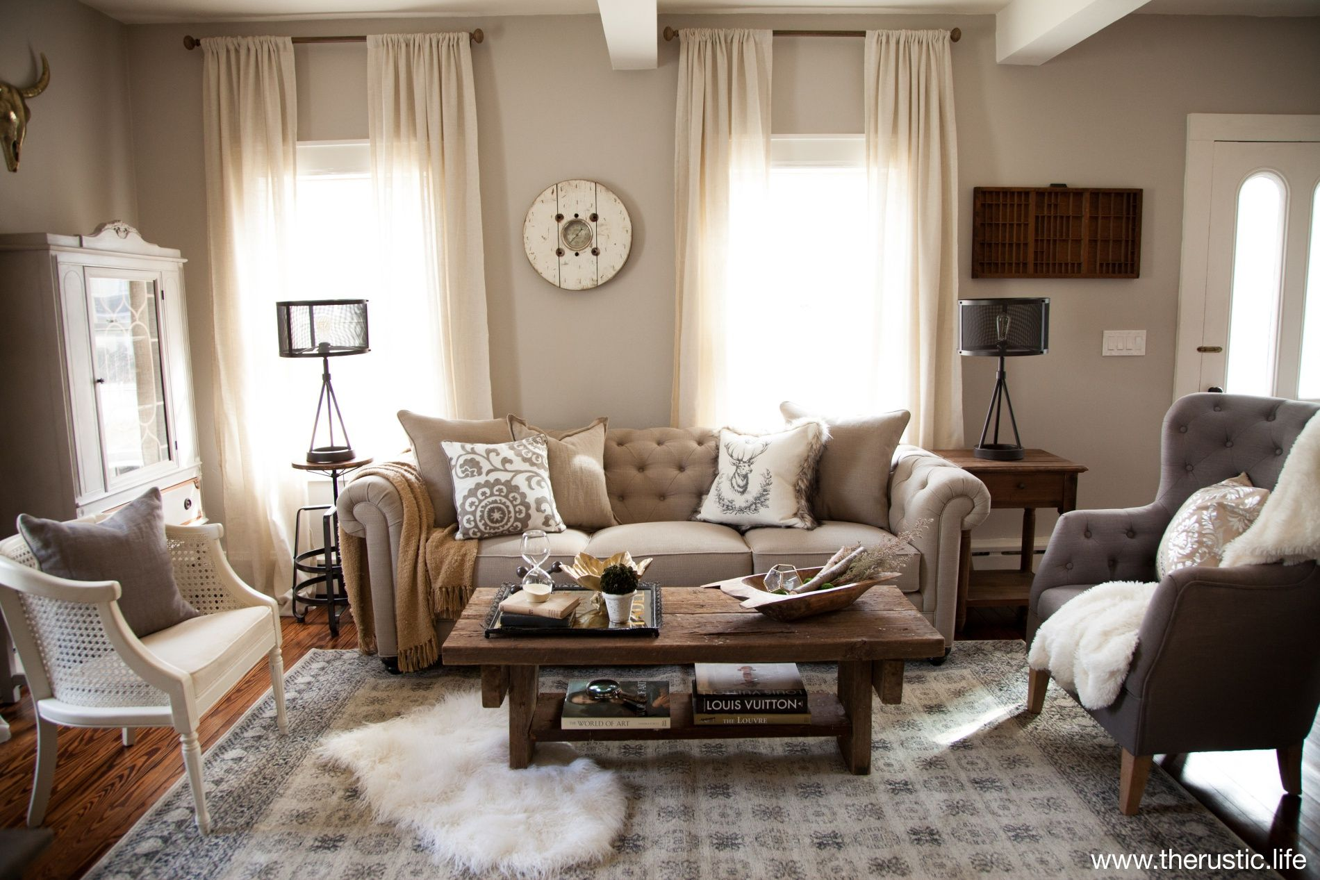A beautifully designed refined rustic formal living room - What to do with a formal living room ...