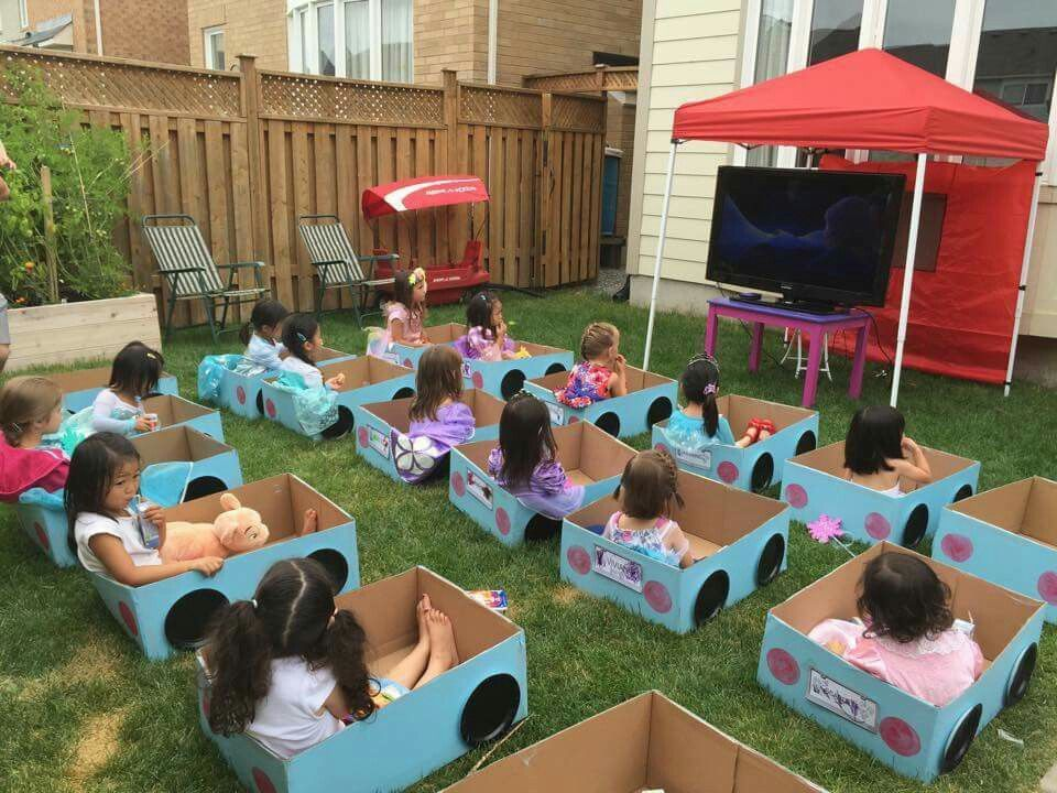 Drive In Movie Birthday Party Its Daylight So A Projector Screen Probably Wouldnt Work We Lugged TV Outside