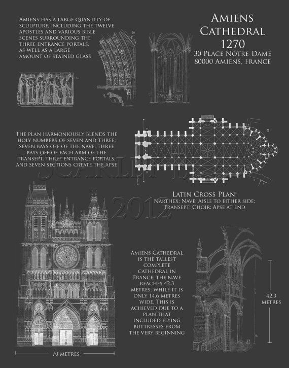 Amiens cathedral blueprint art print architectural blueprint amiens cathedral blueprint art print architectural by scarletblvd malvernweather Image collections