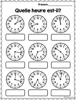 Heure  La Minute Prs  French Time Worksheets  Worksheets