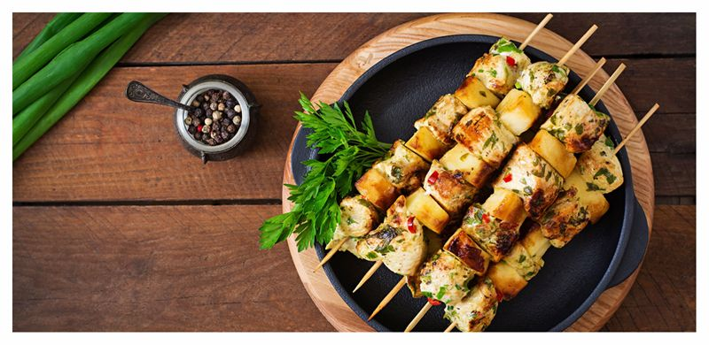 Chicken and Halloumi Skewers with Cucumber salad - Powered by @ultimaterecipe