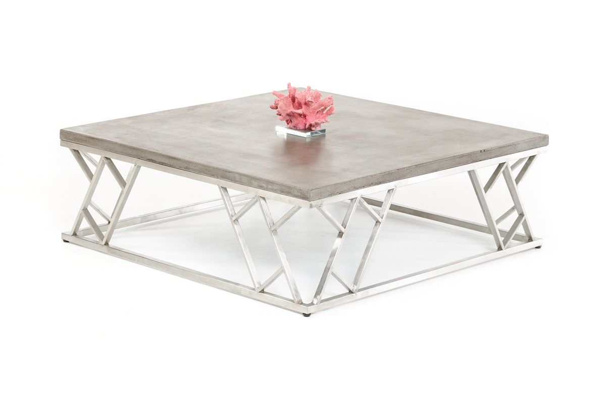 Modrest Scape Modern Concrete Coffee Table Pinterest Concrete - Concrete and chrome coffee table