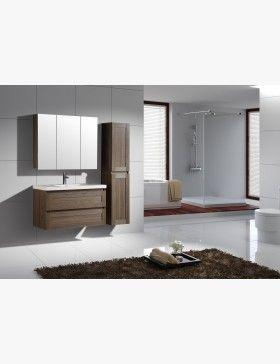 Aqualuna, meuble salle de bain simple vasque 100 cm avec 2 ...
