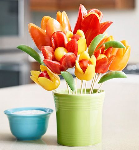 Created by: Hidden Valley Ready to make the ultimate edible centerpiece? Vegetable arrangements are a fun, easy, and delicious way to add color to your table. Grab your veggies and carve your next delectable gem today.