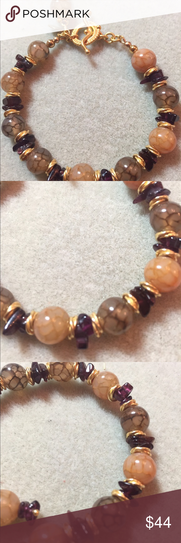 Selling this Bracelet lace agate, amethyst  gold vermeil on Poshmark! My username is: lstory98. #shopmycloset #poshmark #fashion #shopping #style #forsale #Jewelry