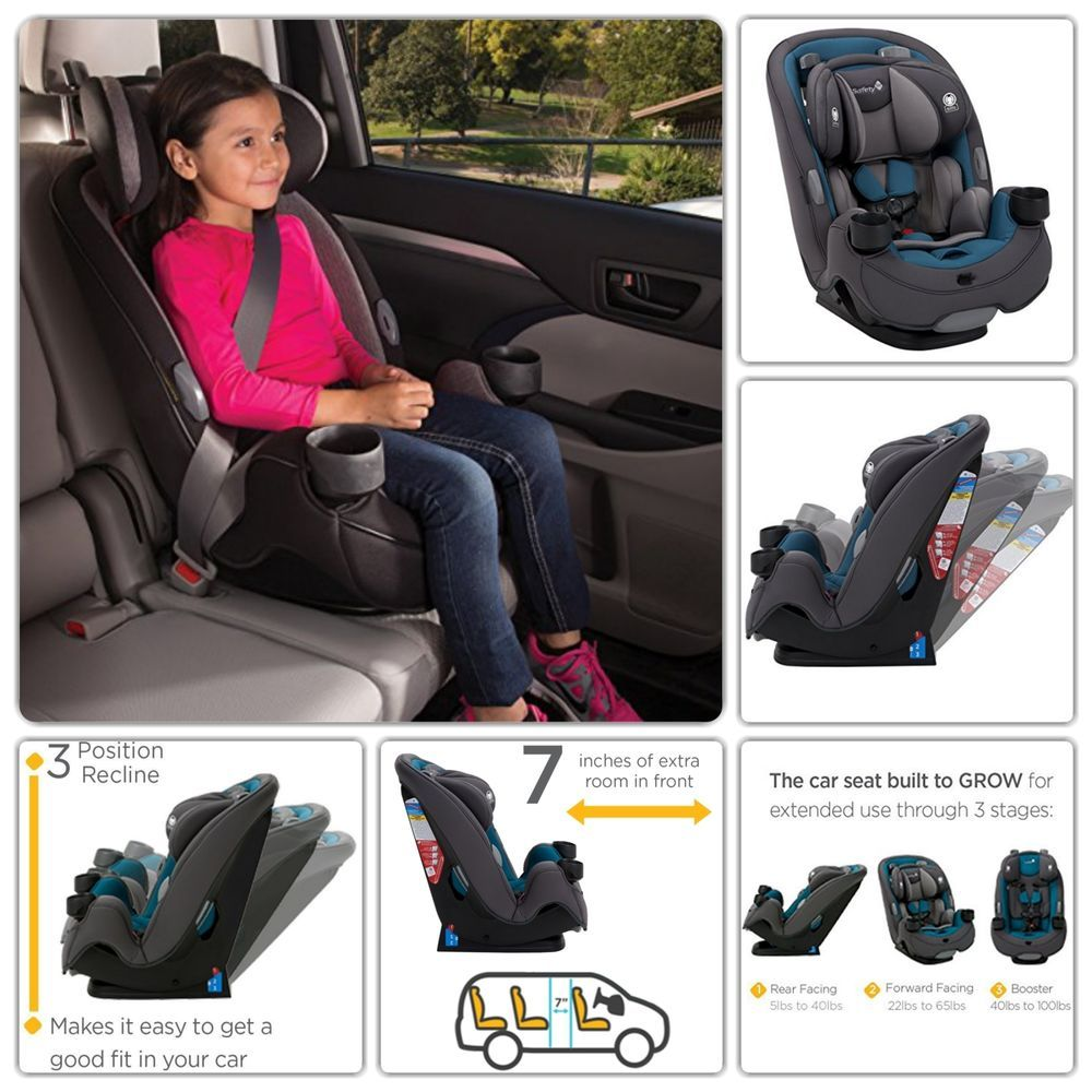 Convertible Car Seat Rear Forward Facing Booster 5-100 lbs ...