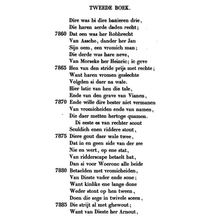 Deel 1 van tekst over de Heren van Diest, uit de Rijmkroniek van Jan van Helen.