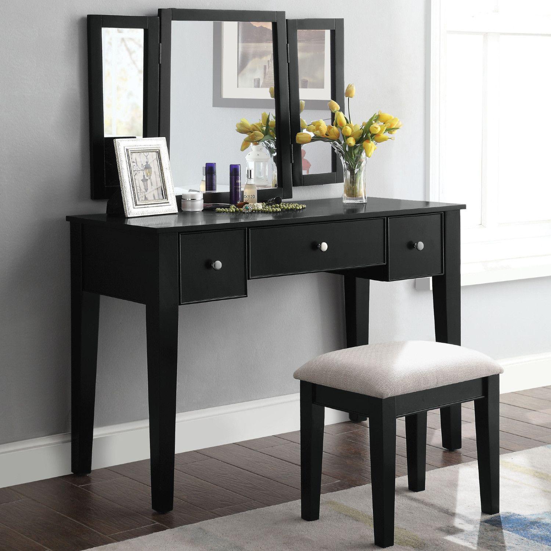 Severus Bedroom Vanity Set In Tan Fabric Black By Acme Furniture