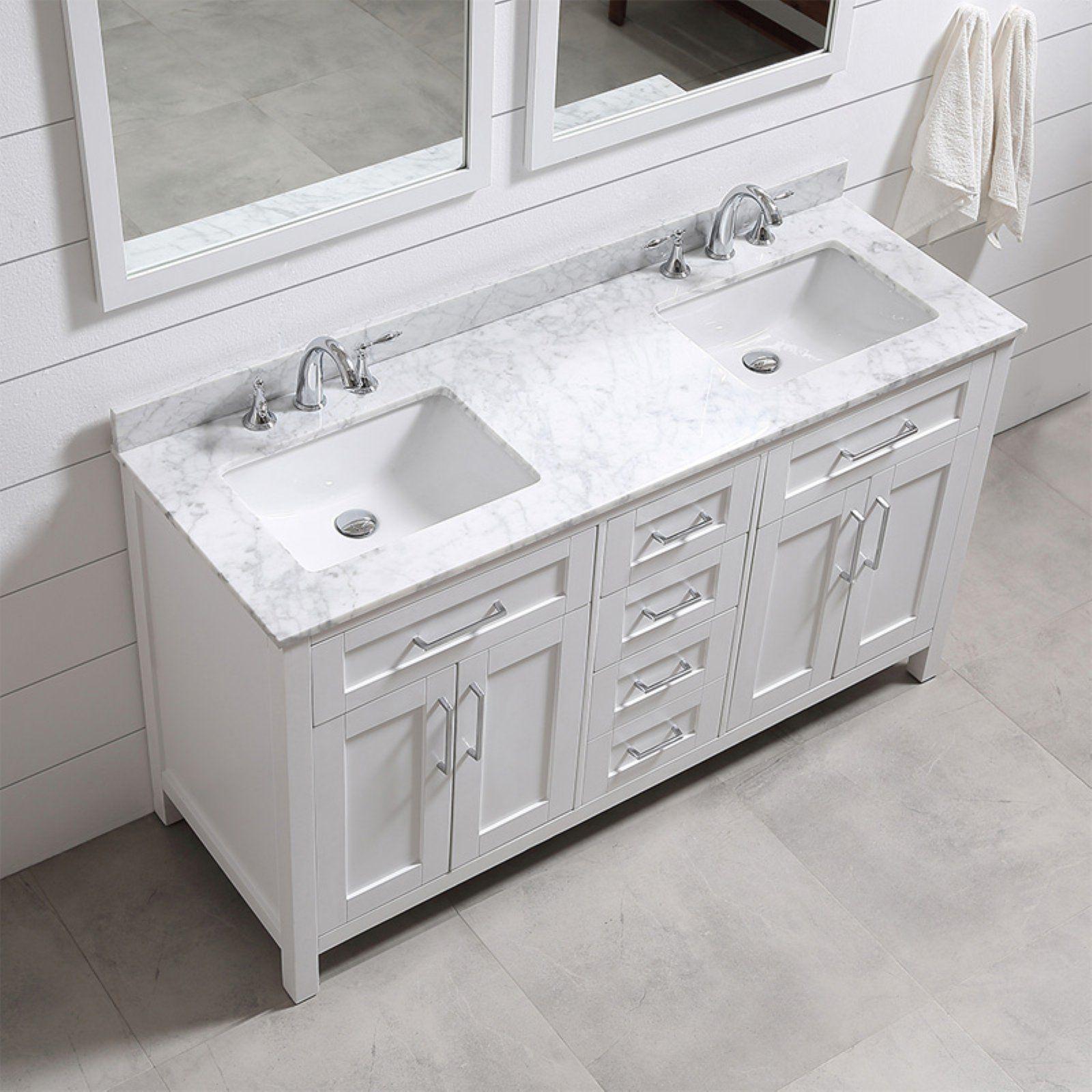 Ove Decors 60 In Double Sink Bathroom Vanity Bathroom Sink Vanity Double Sink Bathroom White Vanity Bathroom