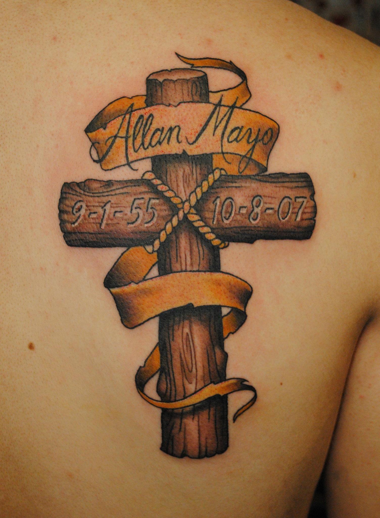 Woodgrain cross tattoo