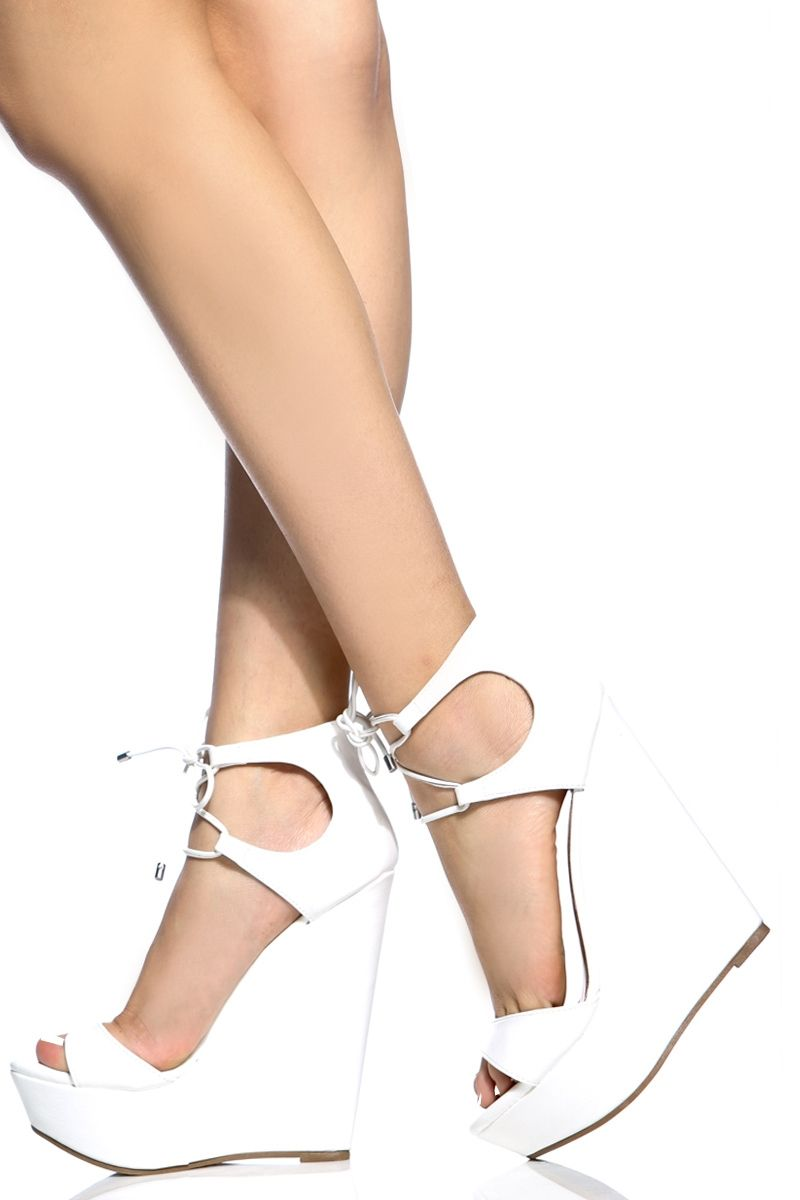 White Faux Leather Lace Up Platform Wedges Cicihot Wedges Shoes Store Wedge Shoes Wedge Boots Wedge Heels W Womens Shoes Wedges Fashion High Heels Prom Heels [ 1200 x 800 Pixel ]