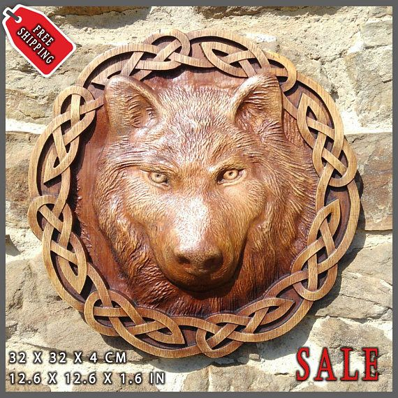 Wolf Odin Viking Valhalla Home Decor Norse Thor Wood Picture