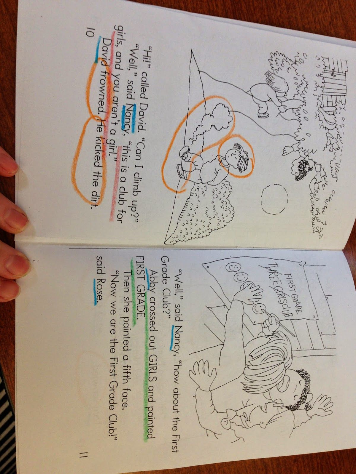 Close reading for first grade-- using a decodable book