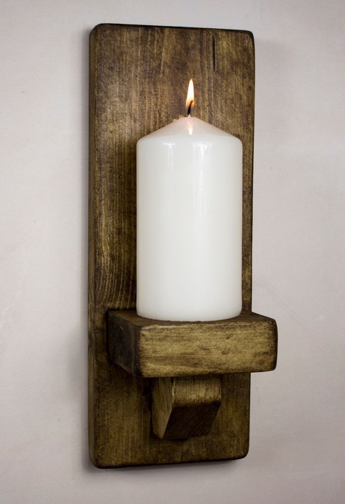 Details About Rustic Wooden Wall Sconce Candle Holder Handmade