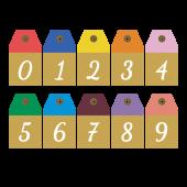 オシャレでかわいい 数字 ナンバー のタグマーク イラスト タグ デザイン マーク イラスト 数字デザイン