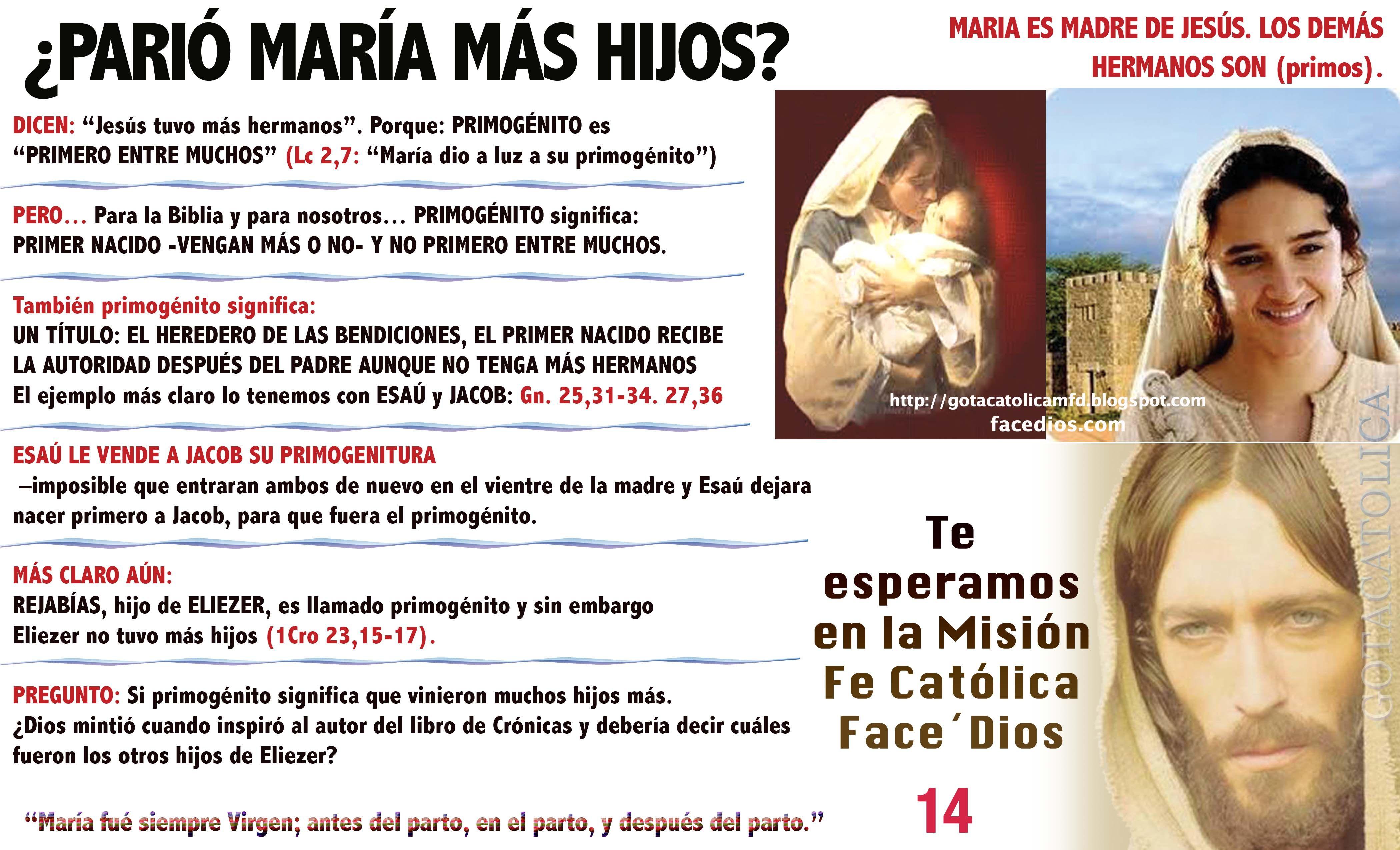 Matrimonio Entre Hermanos Biblia : Maria es madre de jesÚs los demÁs hermanos son primos