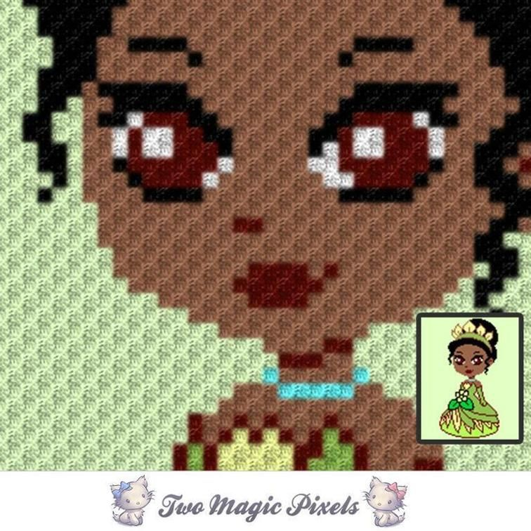 Mini C2c Pattern: Mini Princess Tiana C2C Crochet Graph