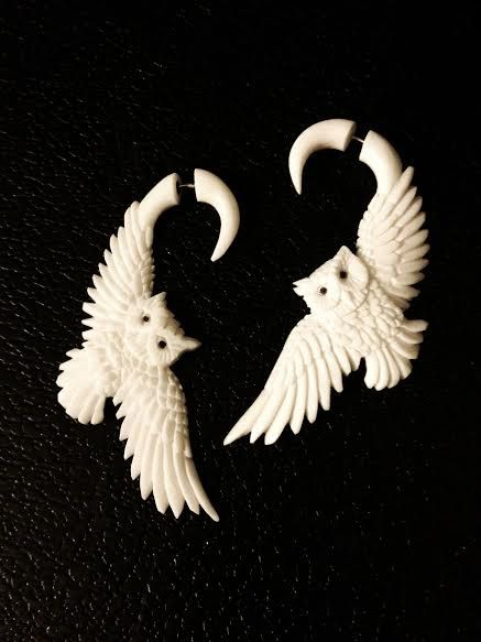 Hand Carved Bone Owl Fake Gauge Earrings By Fataljewelry On Etsy 39 00 Fake Gauge Earrings Bone Carving Creative Jewelry