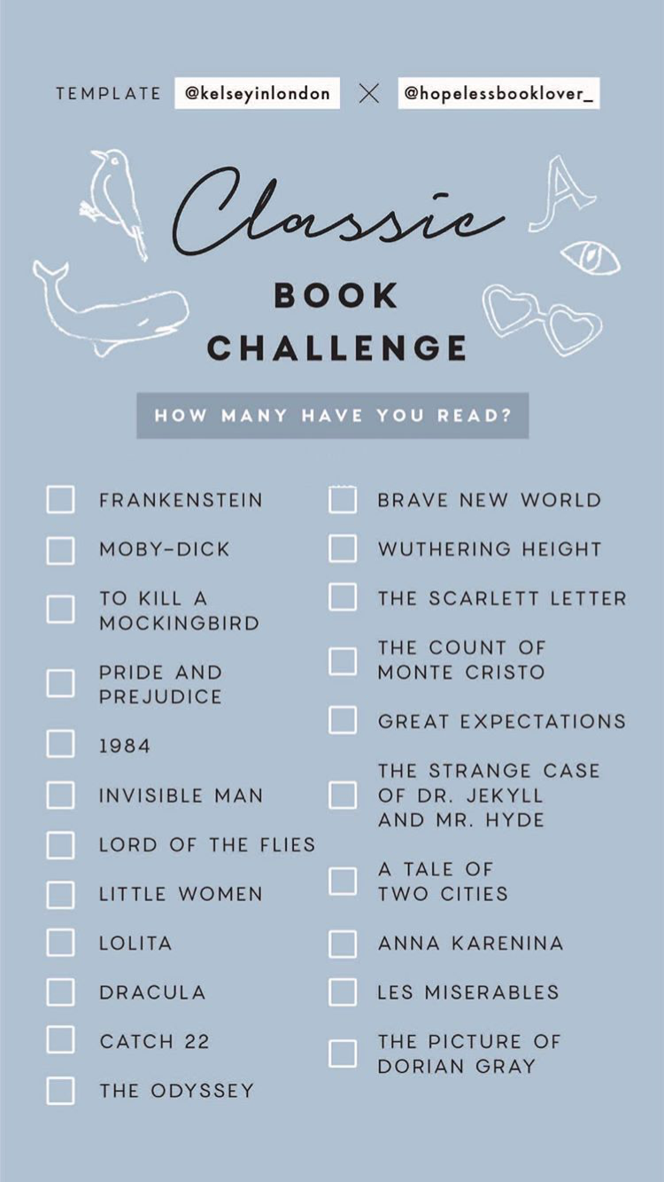 Classic Book Challenge Instagram Story Template Classic Books I Ve Read Book Challenge Books To Read Book Lists