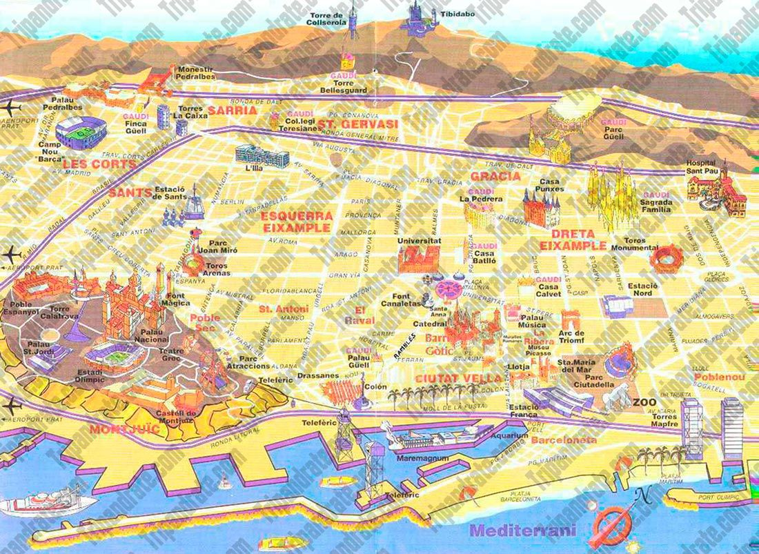 SAMPLE tourist map Barcelona tourist map Trail Media – Barcelona Tourist Attractions Map