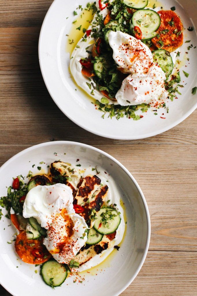 Photo of Turkish Poached Eggs with Sweet Potatoes and Halloumi (Cilbir) Recipe