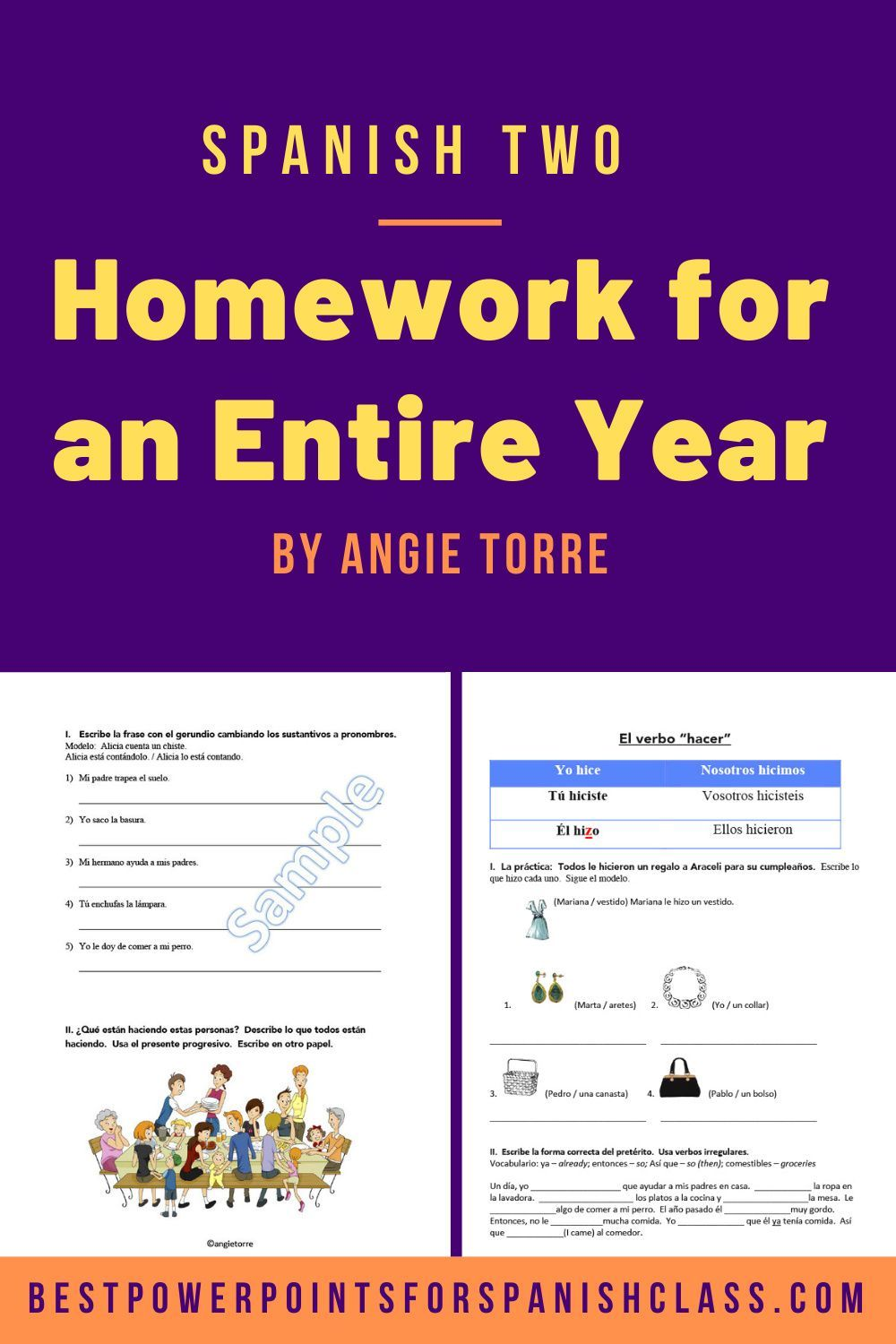 Spanish Two Homework For An Entire Year Best Powerpoints In 2021 Cloze Activity Instructional Resources Interactive Notebook Activities [ 1500 x 1000 Pixel ]