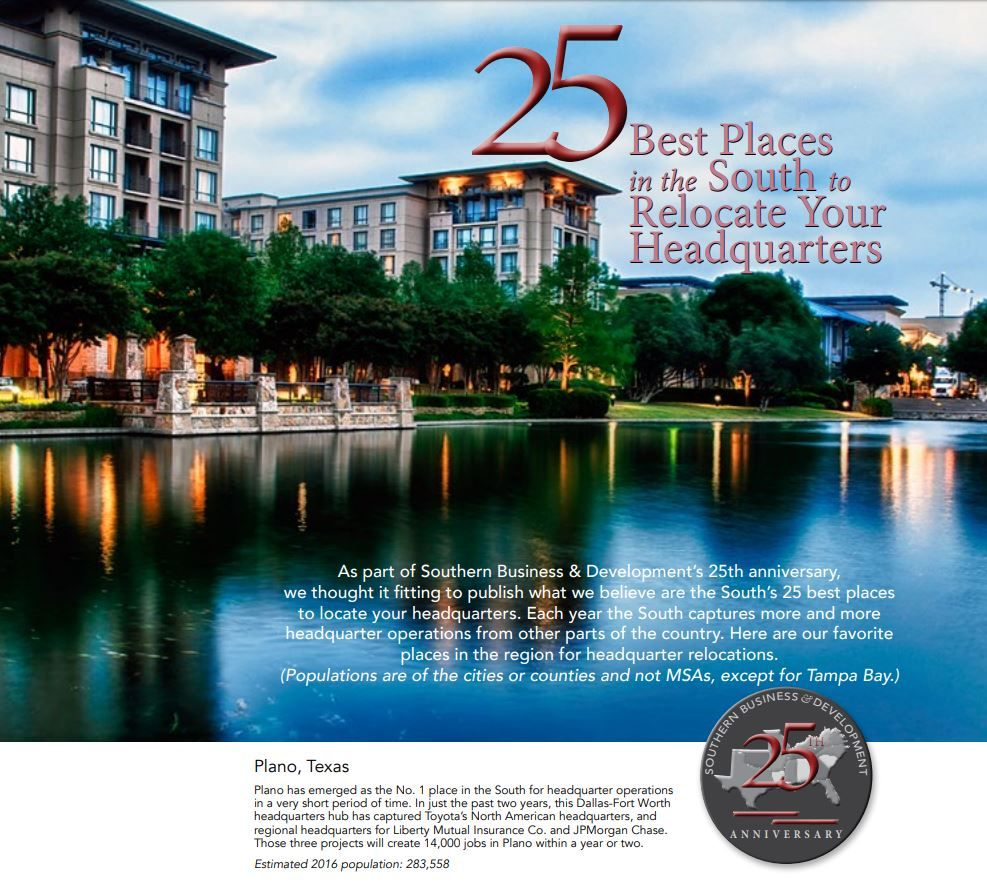 2018 Plano is 1 Best Place in the South to Relocate Your