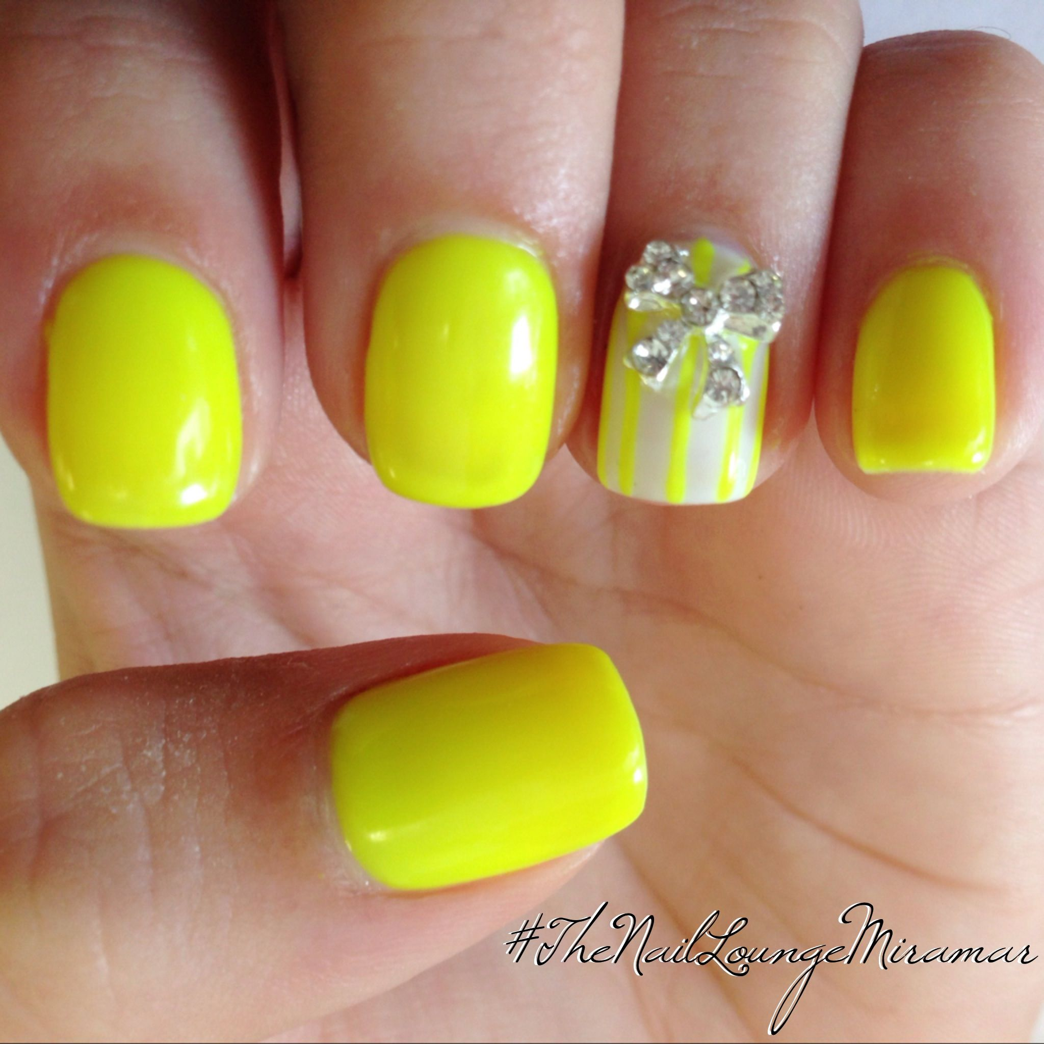 Neon Yellow 3d Bow Nail Art With Images Neon Nail Designs