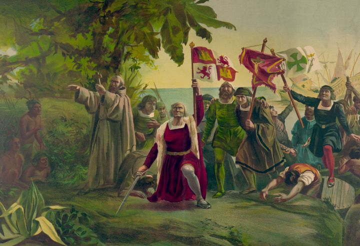 On October 12 1492 Columbus Stepped On Land And Claimed For Spain An Island He Named San Native American Genocide Christopher Columbus Happy Columbus Day
