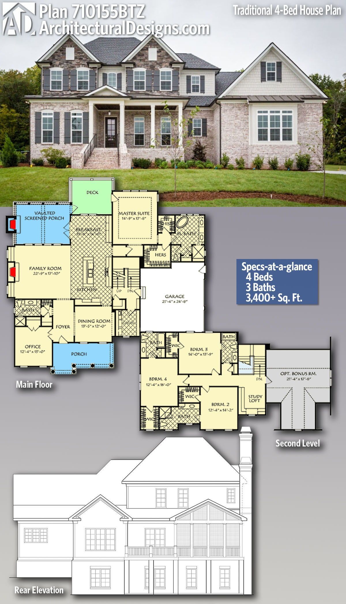 Plan 710155btz Traditional 4 Bed House Plan With Brick Exterior And Shingle Accents Architectural Design House Plans House Blueprints House Plans