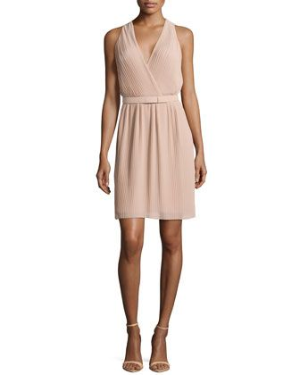 Pleated Wrap Dress with Belt, Nude by Halston Heritage.