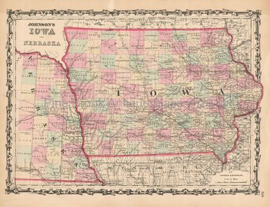 Iowa Nebraska Antique Map Johnson Iowa Antique Maps - Vintage iowa map