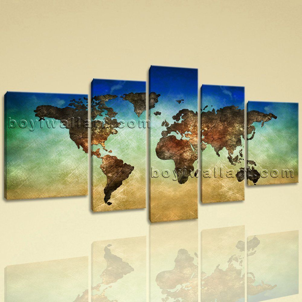 Extra Large World Map Other Retro Canvas Wall Art Home Decor Five ...