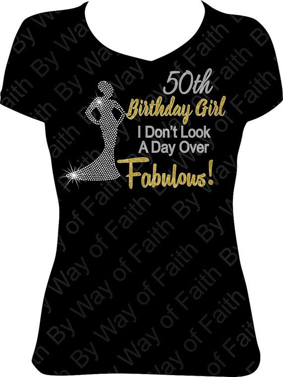 50th BIRTHDAY GIRL Bling Rhinestone Glitter T Shirt Gifts