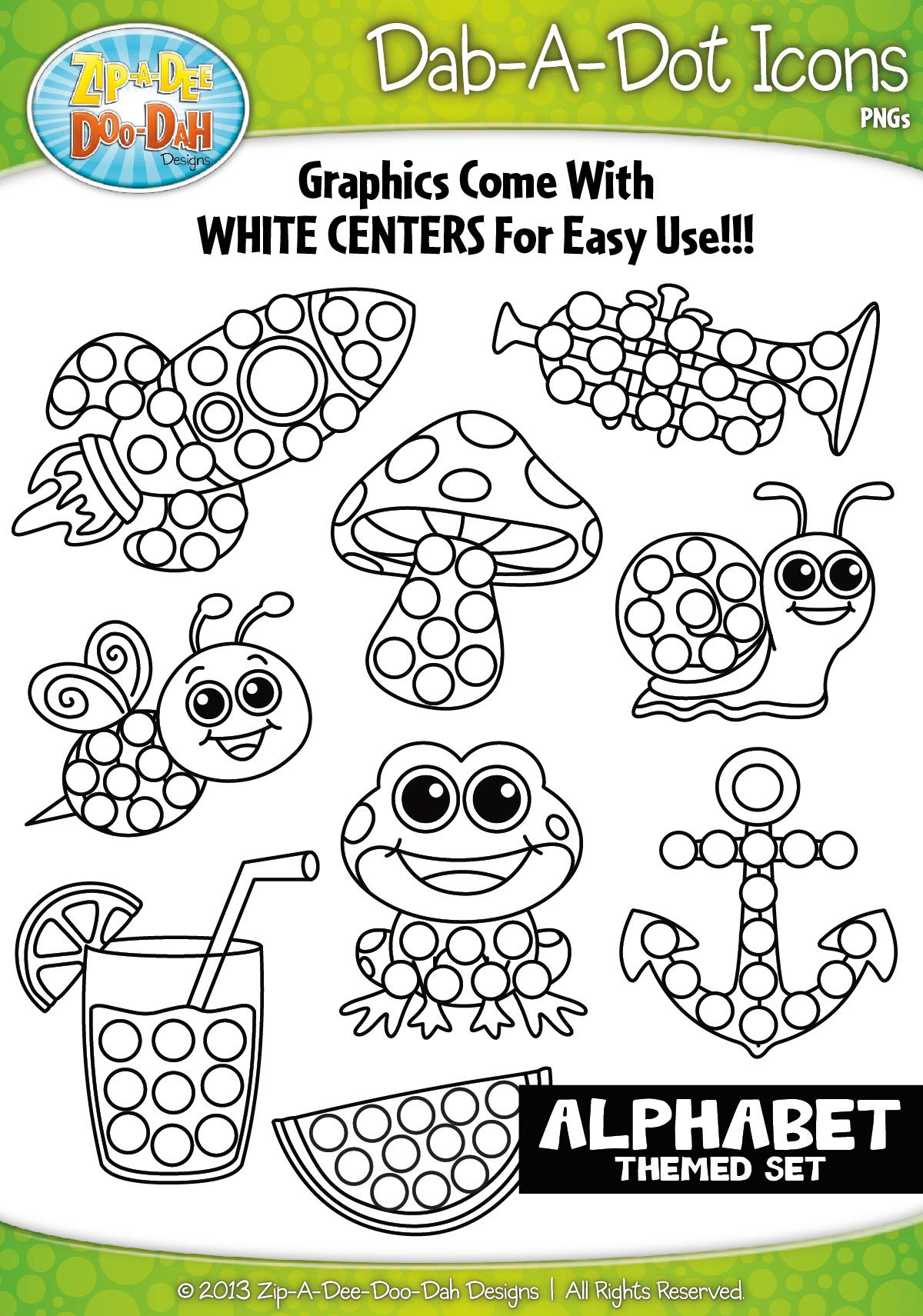 A To Z Alphabet Dab A Dot Markers Graphics Clipart 1 Zip