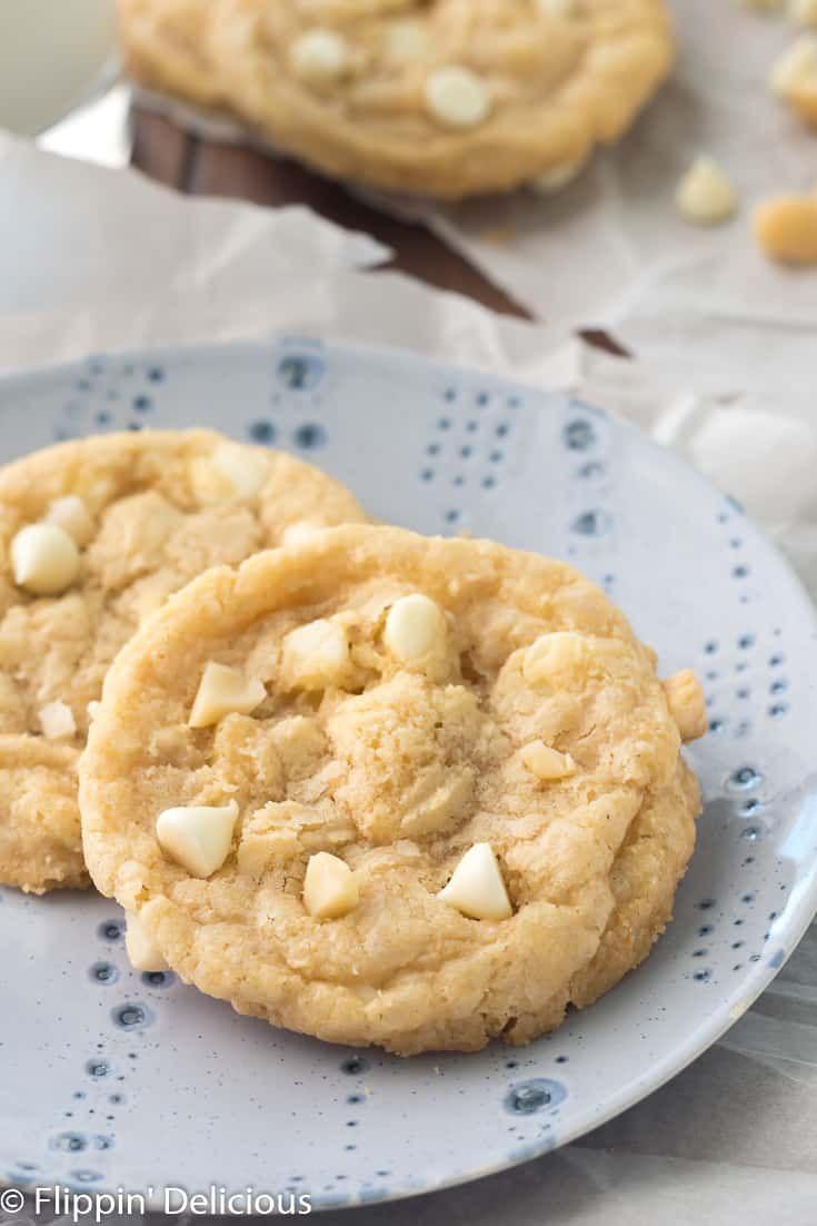 Gluten Free Flour Gluten Free White Chocolate Macadamia Nut Cookies- Classic buttery white chocolate chip cookies with macadamia nuts. No chill gluten free cookie dough with a Dairy-free option.