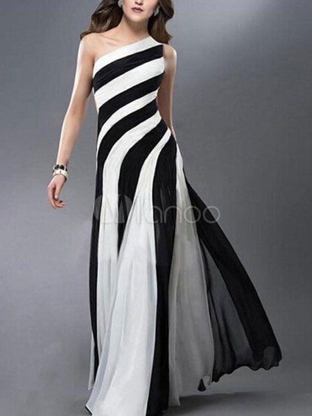 830fec48f8d1e Vestido de noche de un hombro asimétrico sin espalda rayas vestido bicolor