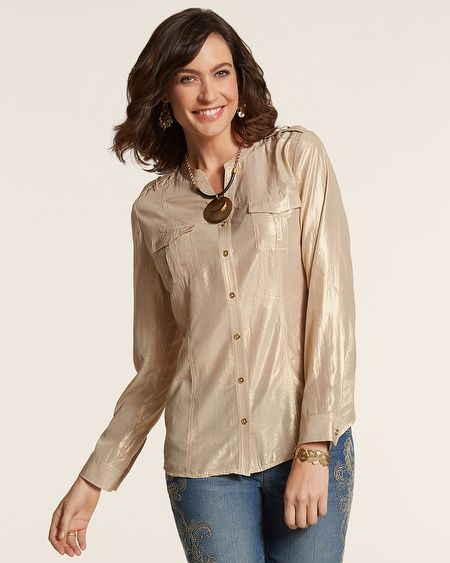 Chico's Gold Shimmer Izzie Shirt