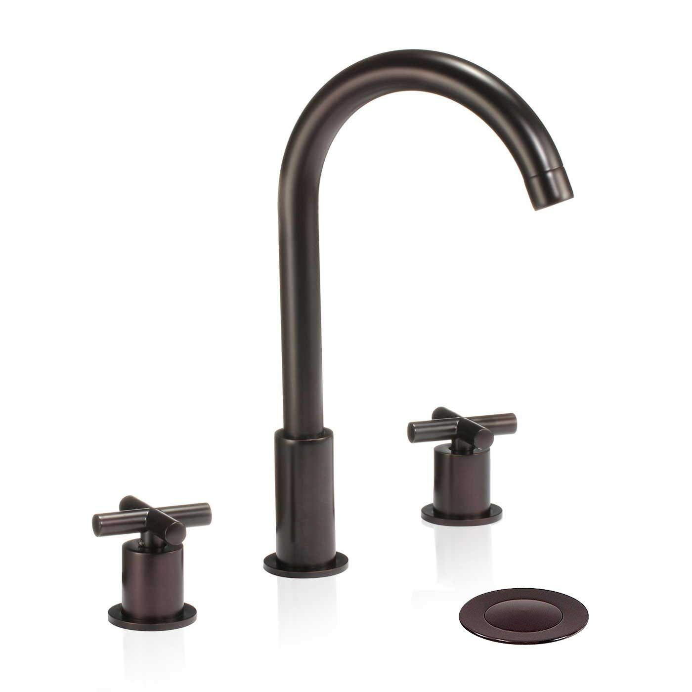 Wovier W 8412 Orb Widespread Bathroom Sink Faucet Oil Rubber