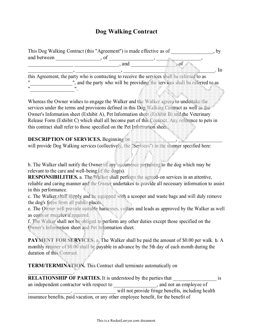 Sample Dog Walking Contract Form Template  Contracts
