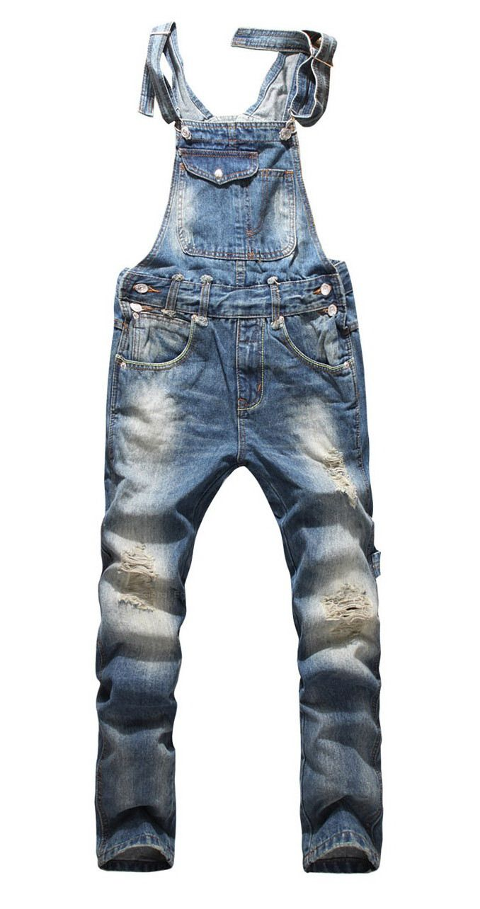 4b5395735c59db Front Pocket Design Relaxed Fashion Denim Overalls For Men (BLUE,31) |  Sammydress.com