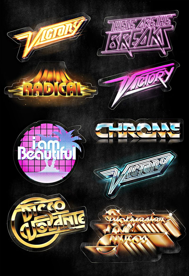 80ies Styled Type Imagenes de marcas, Diseño tipografico