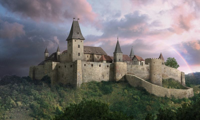 Fictional Reconstruction Of Cachtice Castle In Modern Day Slovakia Formerly In Hungary In The Film Bathory 2008 Castle Elizabeth Bathory Castle Designs