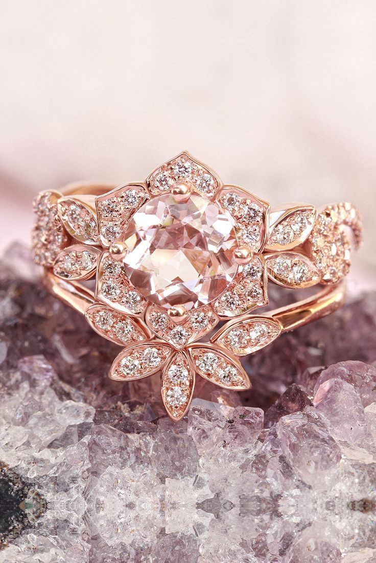 Rose Gold, Morganite & Diamonds Bridal Rings Set, Unique Engagement ...