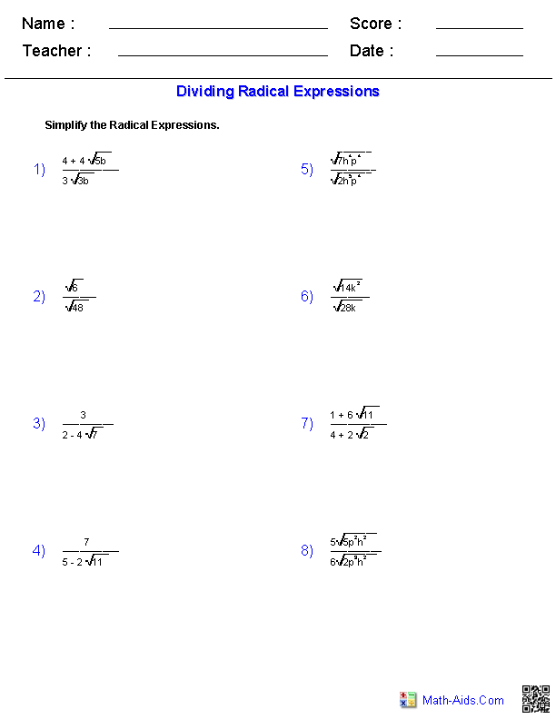Dividing Radicals Worksheet for 9th - 11th Grade   Lesson Planet