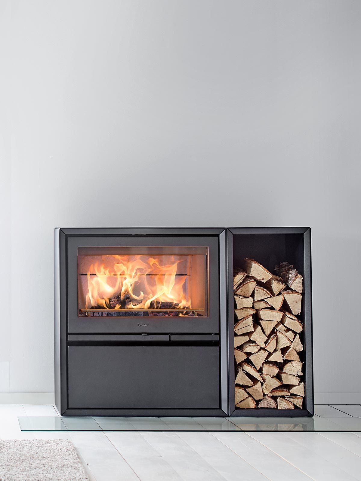 Contura 310 In Black With Cast Iron Door Log Storage And