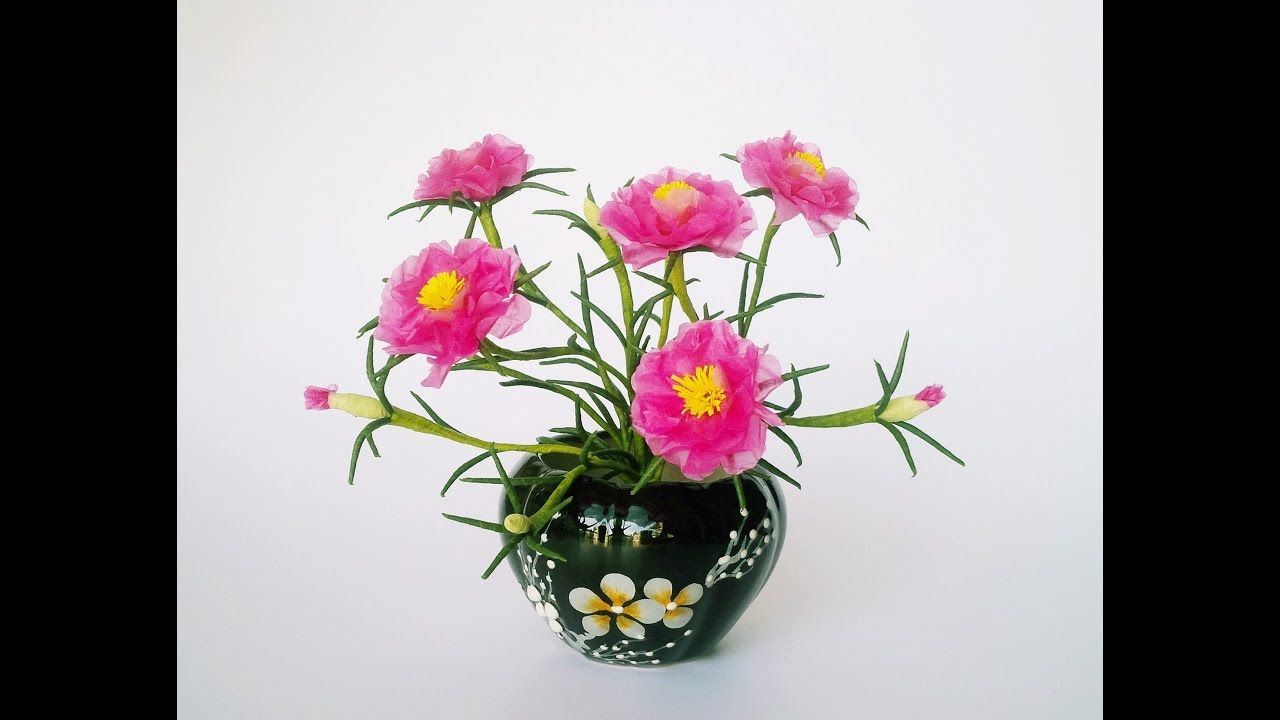 How To Make Moss Rose Flower From Tissue Paper Craft Tutotrial