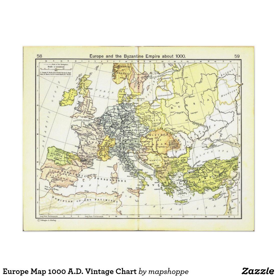 Europe Map 1000 A D Vintage Chart Zazzle Com Map Poster