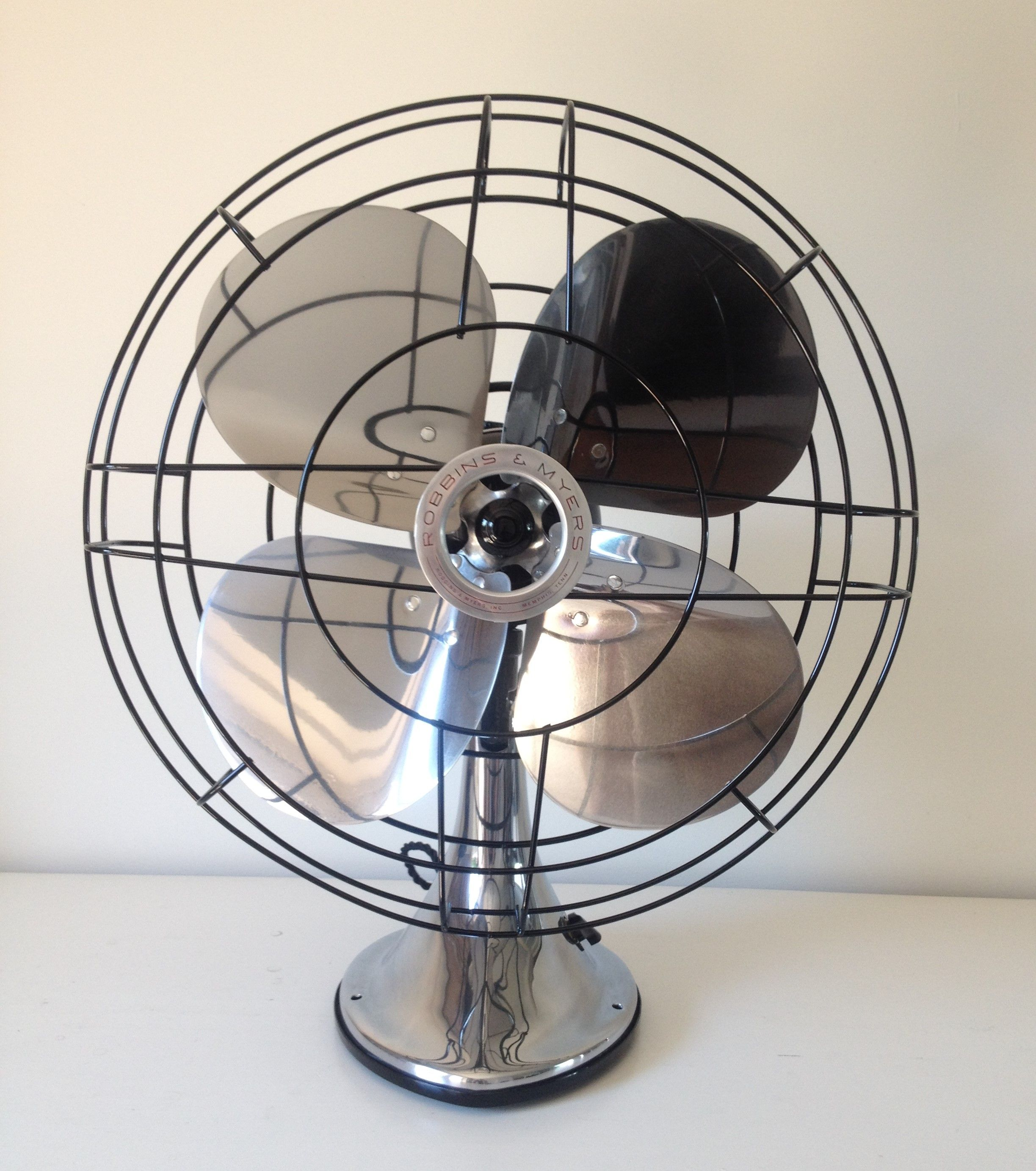Antique Robbins & Myers desk fan. Polished and rewired. #robbin #myers #